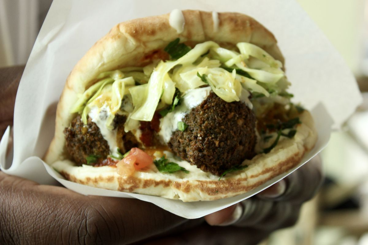 The falafel sandwich from TLV