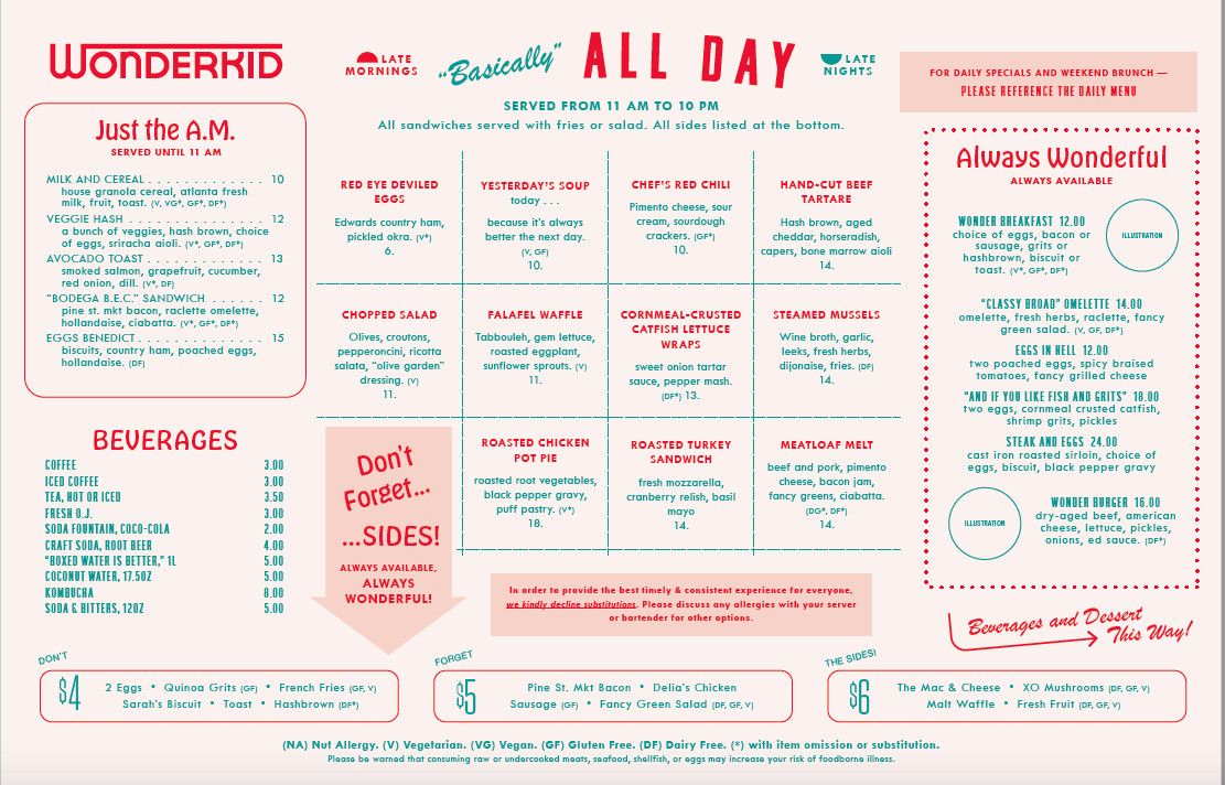 Wonderkid all day food menu