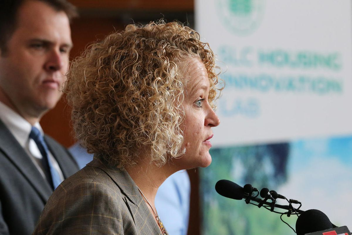"""FILE — Salt Lake City Mayor Jackie Biskupski, along with staff from the City""""™s Division of Housing and Neighborhood Development, Redevelopment Agency/Department of Economic Development announce a plan to build lower income housing on the same block as th"""