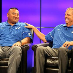 Kalani Sitake, head coach, and Ty Detmer, offensive coordinator and quarterbacks coach, answer questions during BYU Football Media Day at BYU Broadcasting in Provo on Friday, June 23, 2017.
