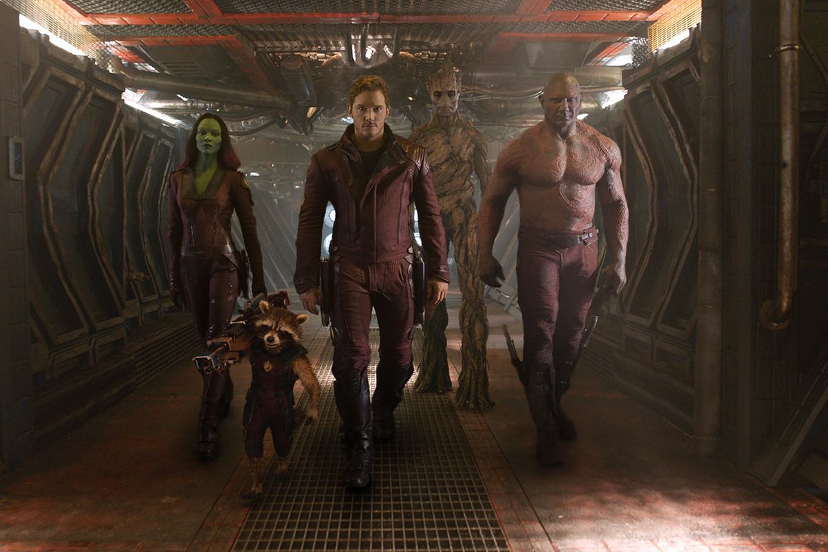 The cast of Guardians of the Galaxy heads into battle.