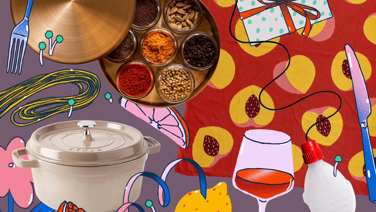 Various items, including a cocotte, tin of spices, and colorful blanket, on top of an illustrated background.