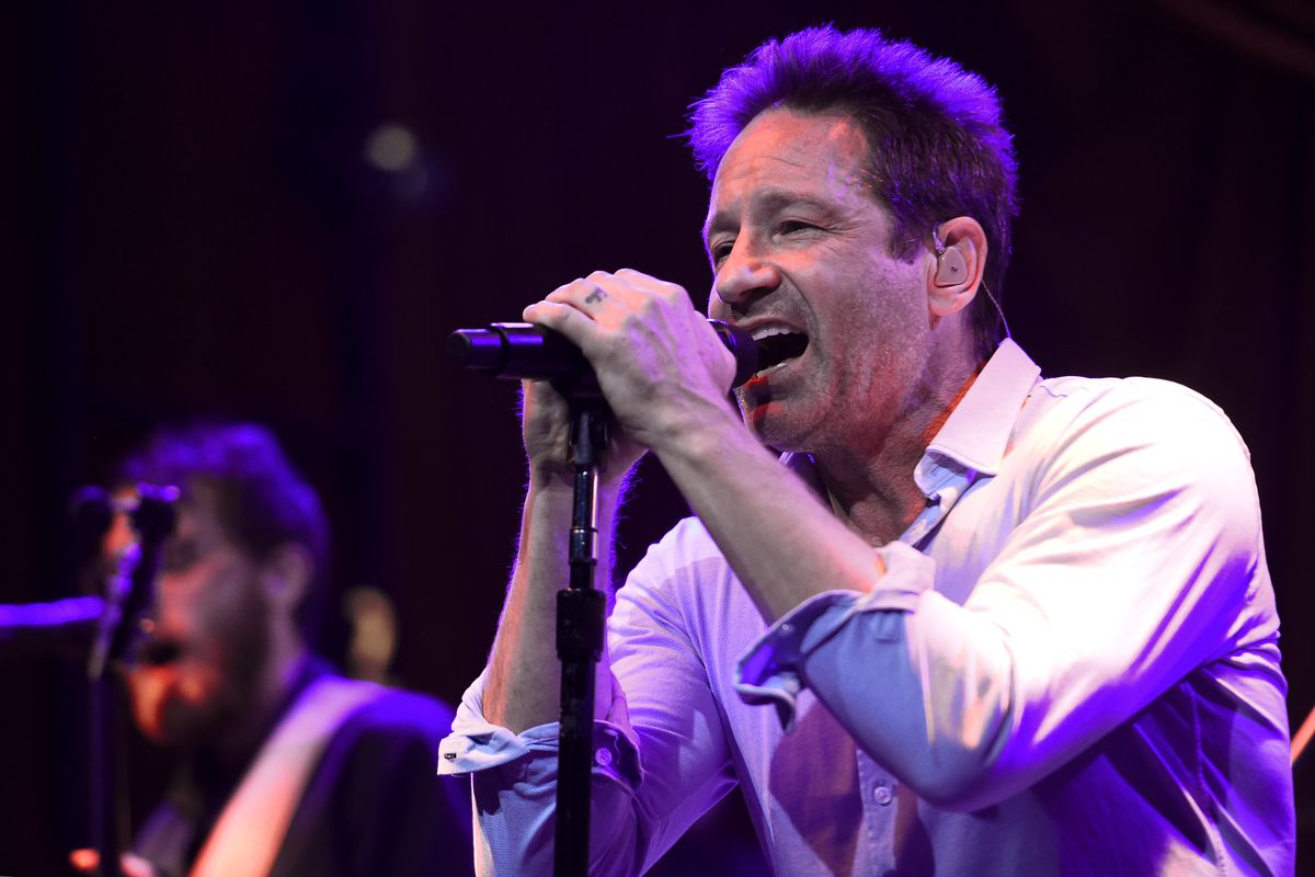David Duchovny performs on stage during the 2018 Tribeca Film Festival at the Public Hotel in New York City.