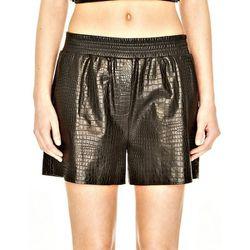 "<b>Alexander Wang</b> Black Leather Croc Embossed Boxer Short, <a href=""http://www.alexanderwang.com/products/103131r13/leather-croc-embossed-boxer-short"">$850</a>"