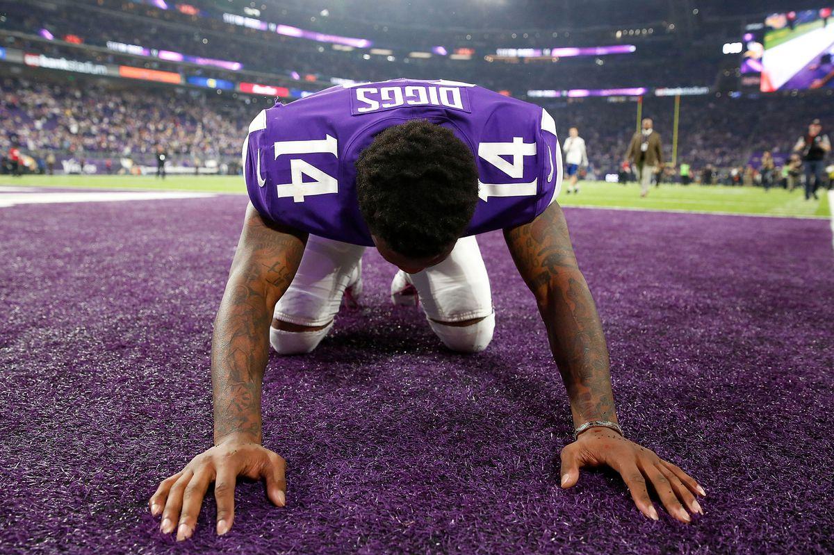 Stefon Diggs kneeling in the end zone