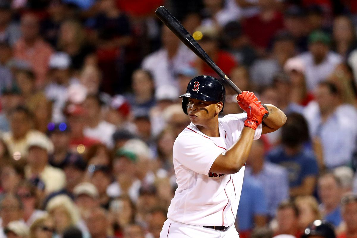 BOSTON, MA - AUGUST 16: Rafael Devers #11 of the Boston Red Sox at bat during the second inning against the St. Louis Cardinals at Fenway Park on August 16, 2017 in Boston, Massachusetts. (Photo by Maddie Meyer/Getty Images)
