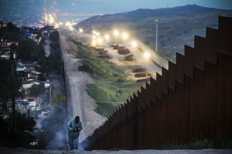 The Mexican side of the US-Mexico border barrier in Tijuana, Mexico, on March 30, 2019.