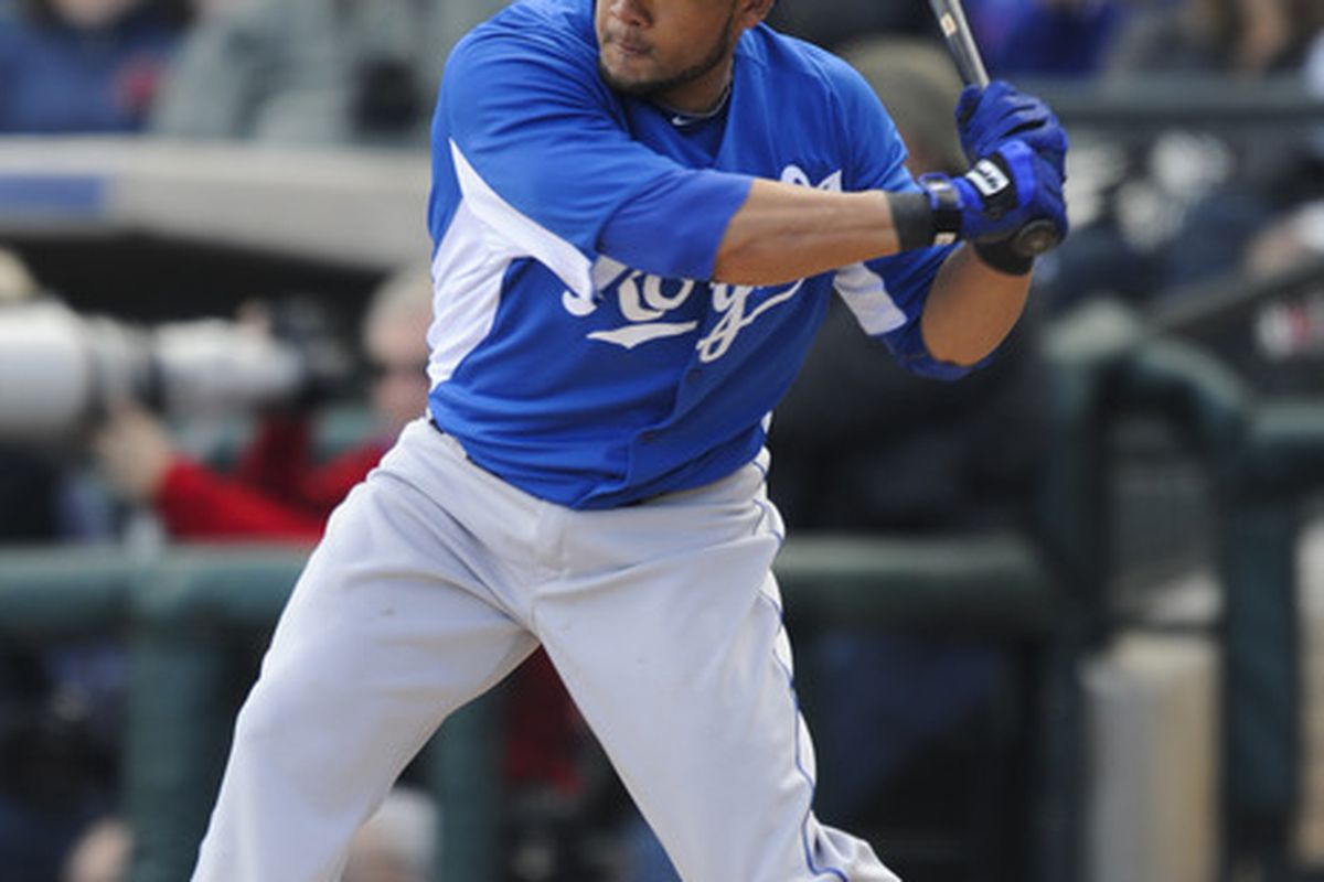 SURPISE, AZ - FEBRUARY 27: Melky Cabrera #53 of the Kansas City Royals bats during a spring training game at  against the Texas Rangers Surprise Stadium on February 27, 2011 in Surprise, Arizona. (Photo by Rob Tringali/Getty Images)