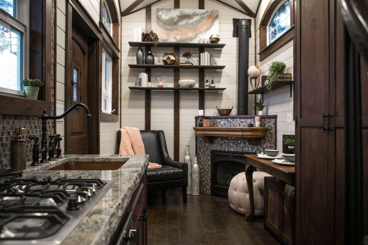 Tiny tudor living room plus fireplace
