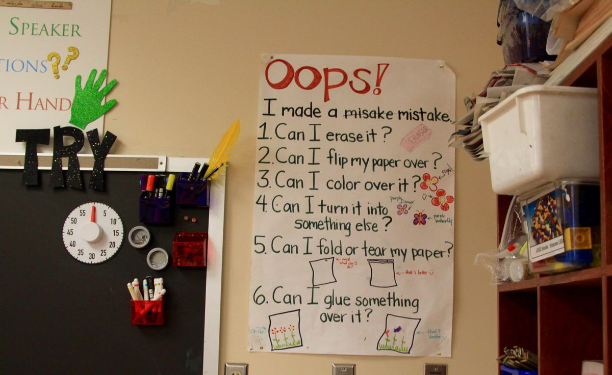 A poster outlines what to do if a student makes a mistake.