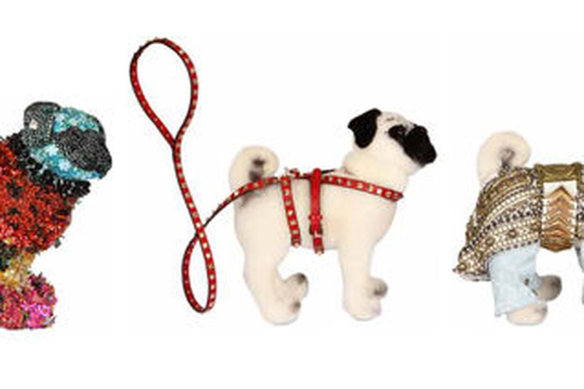 """Mary Katrantzou, Balmain, and Valentino dogs will be auctioned from March 19th to March 26th. Images via <a href=""""http://www.myfashionlife.com/archives/2012/03/20/mary-katrantzou-balmain-valentino-and-more-designers-dress-pugs-up-for-charity/"""">MyFas"""