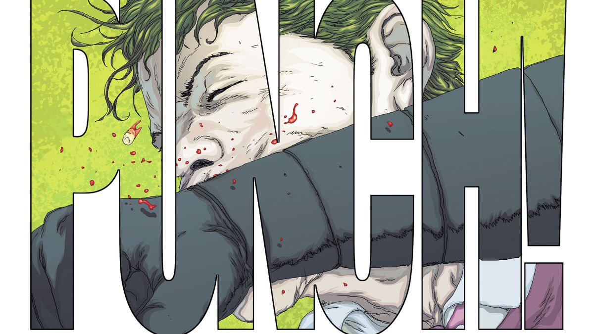 """A close panel of the Joker's face as it is punched by Batman, framed in giant block letters that say """"PUNCH!"""", in Joker: Killer Smile, DC Comics (2019)."""