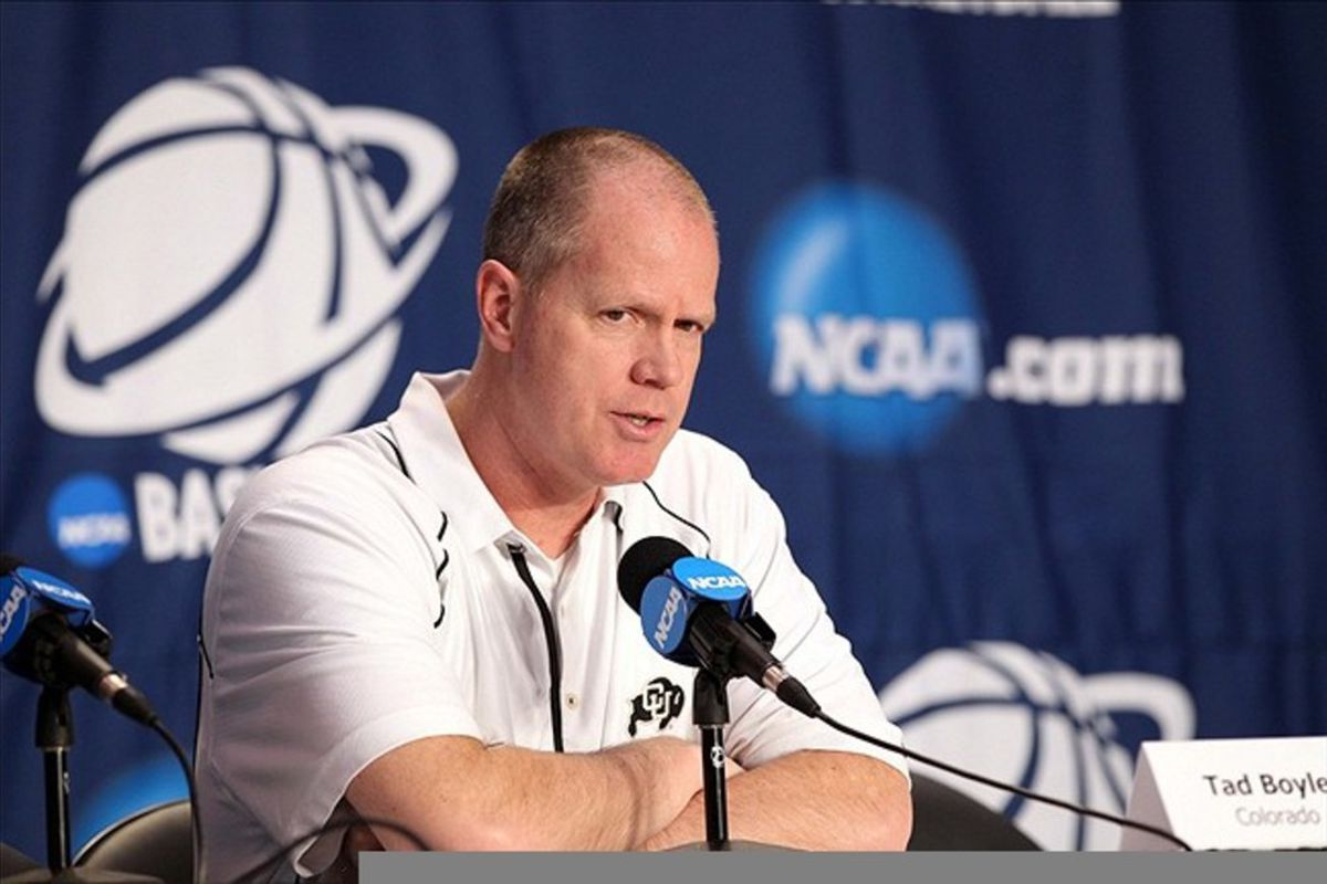 Colorado Buffaloes head coach Tad Boyle at a news conference during practice for the second round of the 2012 NCAA men's basketball tournament at the Pit.  Mandatory Credit: Nelson Chenault-US PRESSWIRE