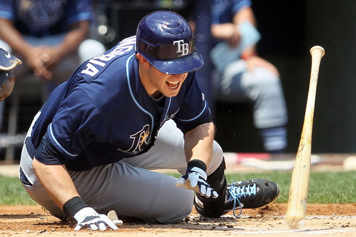 NEW YORK - JULY 18:  Evan Longoria #3 of the Tampa Bay Rays reacts after being hit with a first inning pitch against the New York Yankees on July 18 2010 at Yankee Stadium in the Bronx borough of New York City.  (Photo by Jim McIsaac/Getty Images)