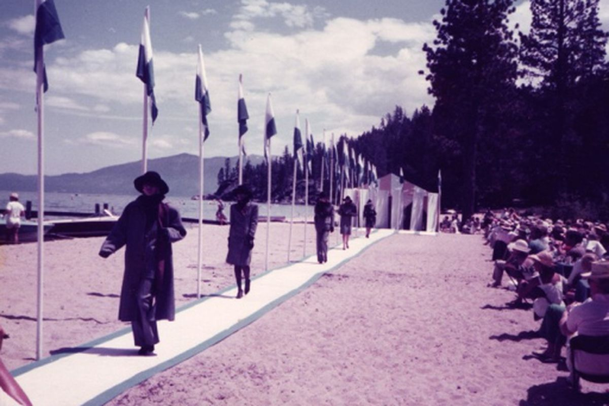 "A Saks fashion show at Lake Tahoe 40 years ago. Image via <a href=""http://www.wwd.com/fashion-news/lake-bells-saks-fashion-show-in-tahoe-2226818?src=rss/recentstories/20090731#/slideshow/article/2226818/2226820"">WWD</a>"