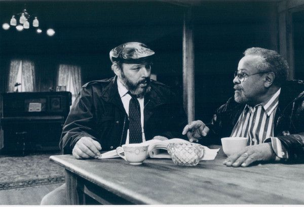 """Playwright August Wilson (left) and director loyd Richards on the set for the Goodman Theatre's 1989 production of Wilson's """"The Piano Lesson."""" 