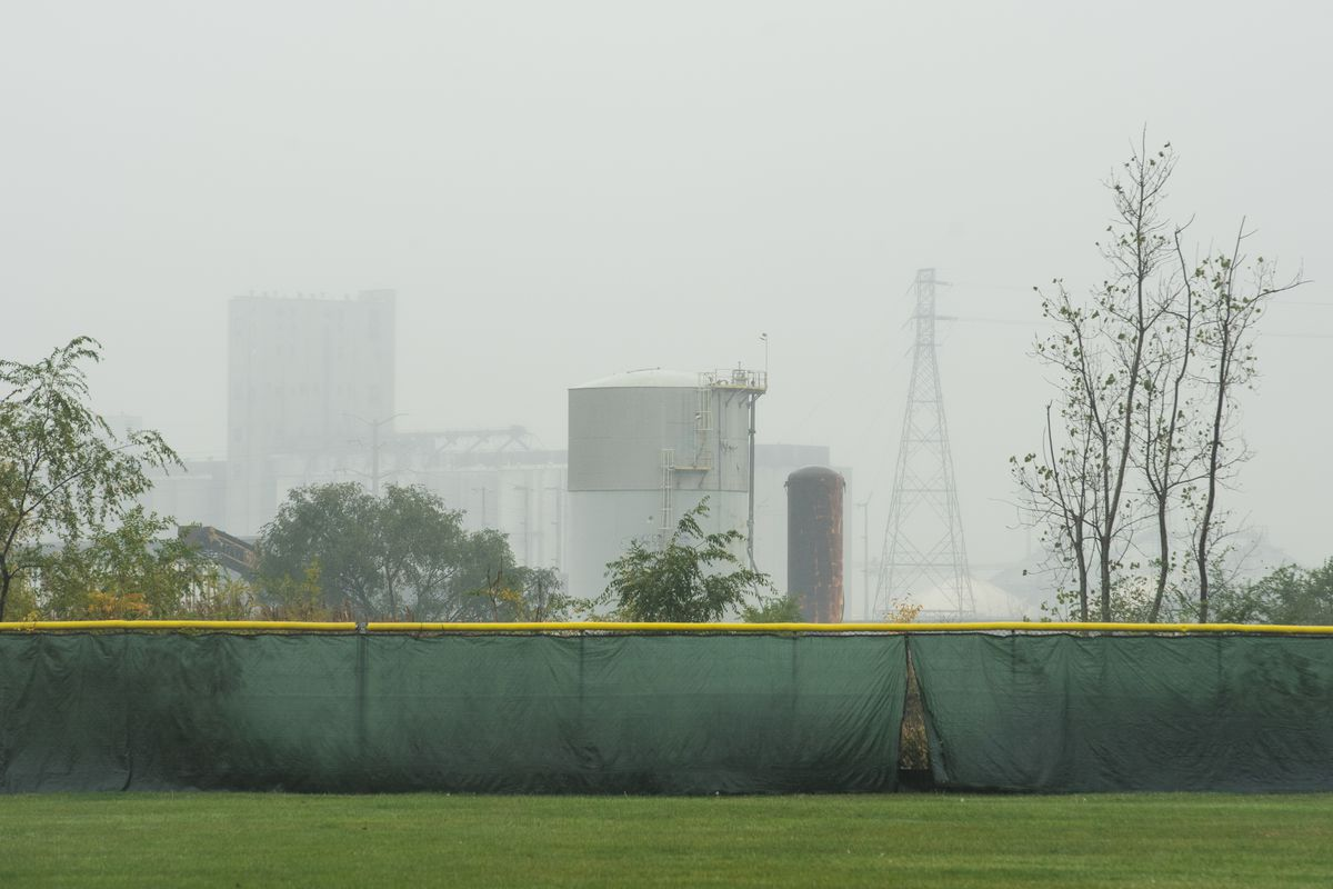General Iron's car and metal shredding facility, which is under construction, near South Burley Avenue and East 116th Street in the Southeast Side is seen in the background from a baseball field on East 110th Street.