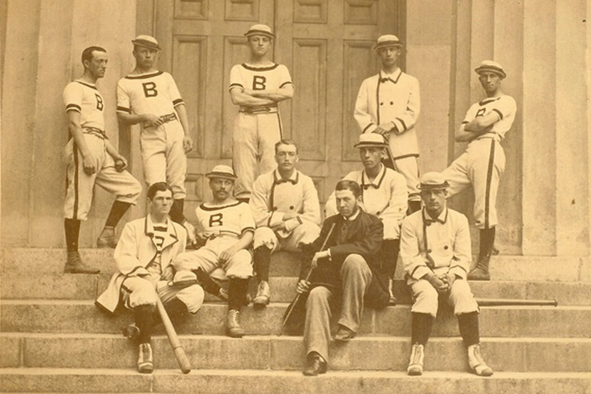 William Edward White on the 1879 Brown baseball team. White is in the second row, seated and wearing a hat.
