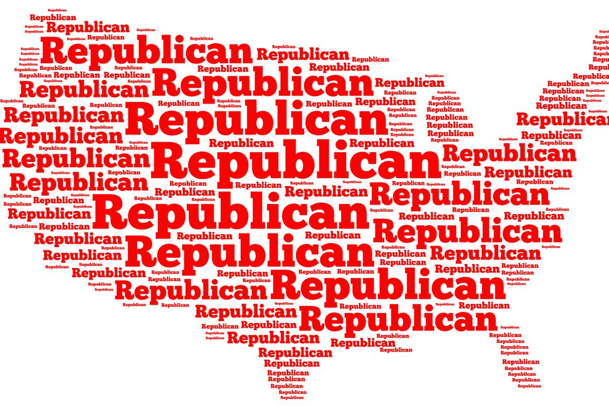 Word Cloud Map Of The United States Of America With The Word Republican Filling Up All Of The E Black Sheep Media