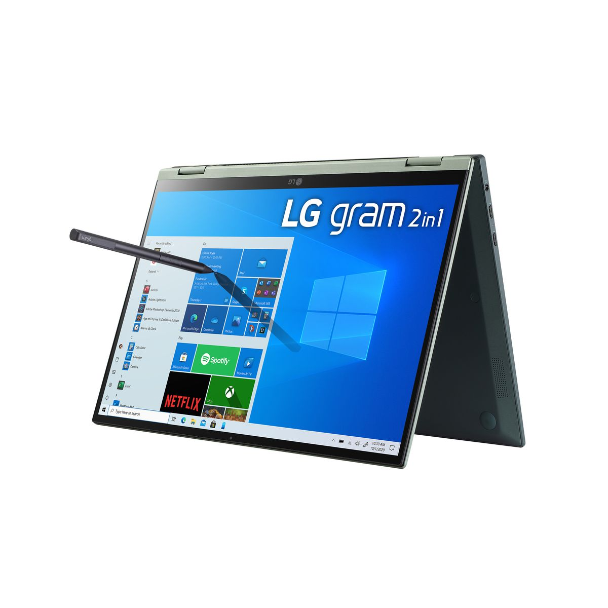 The 14-inch LG Gram 2-in-1 standing in tent mode, angled to the left. The start menu is open; a stylus appears to press one of its icons.