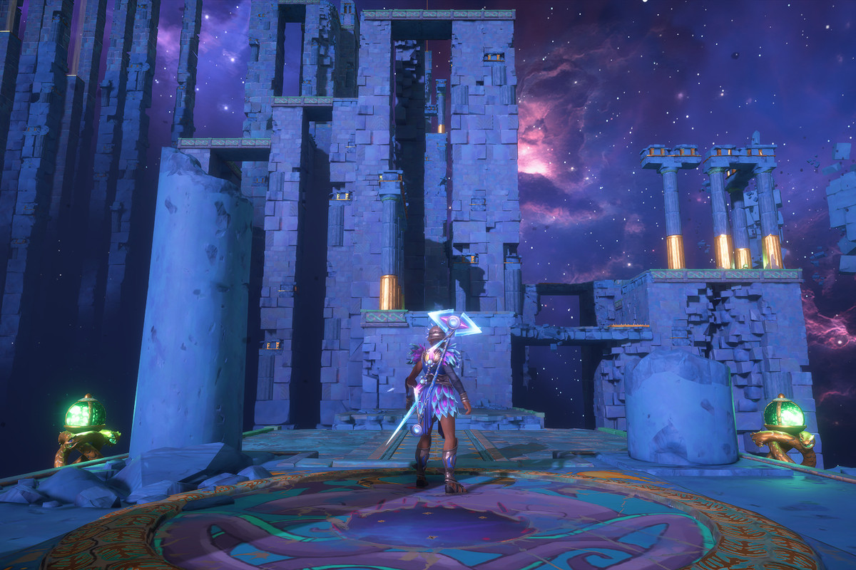 The main character of Immortals Fenyx Rising stands at the entrance of the Mastering Ares's Wrath vault