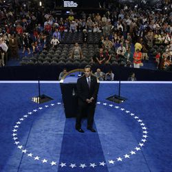 Los Angeles Mayor and Democratic Convention Chairman Antonio Villaraigosa steps away from the podium during the Democratic National Convention in Charlotte, N.C., on Wednesday, Sept. 5, 2012.