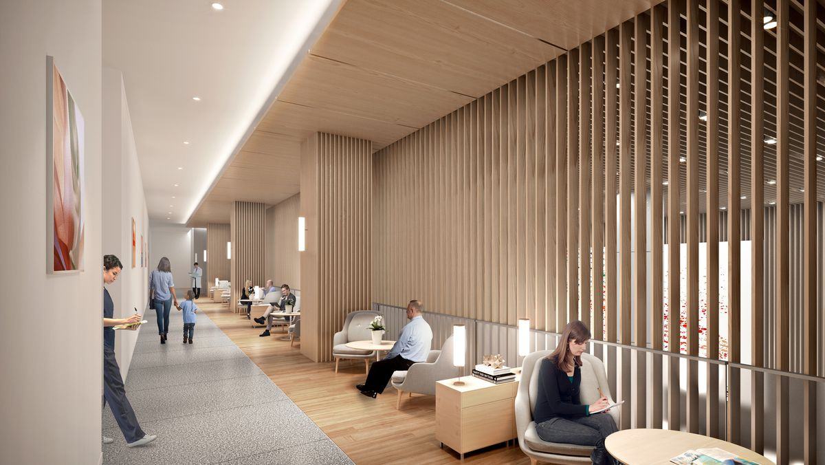 A rendering of a seating area with chairs and small tables.