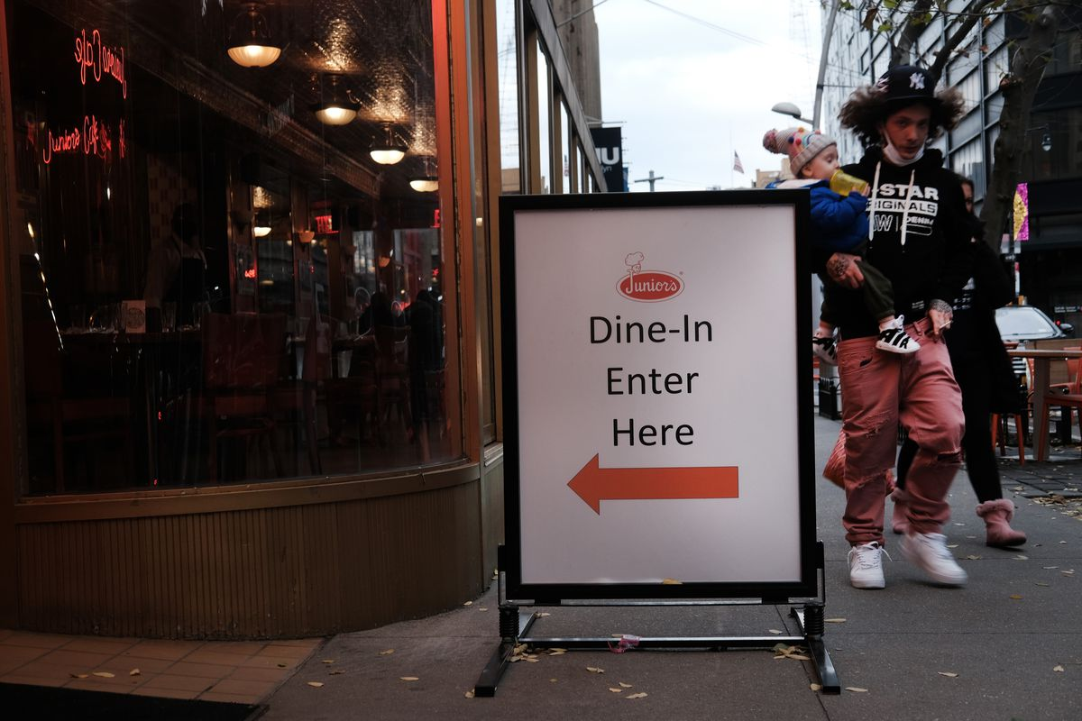 A sign welcomes customers to indoor dining at a restaurant in Brooklyn on December 01, 2020 in New York City.