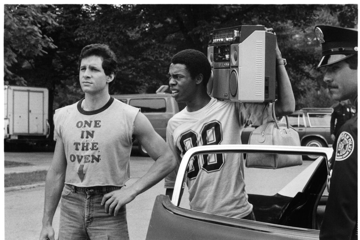 Steve Guttenberg And Michael Winslow In 'Police Academy'