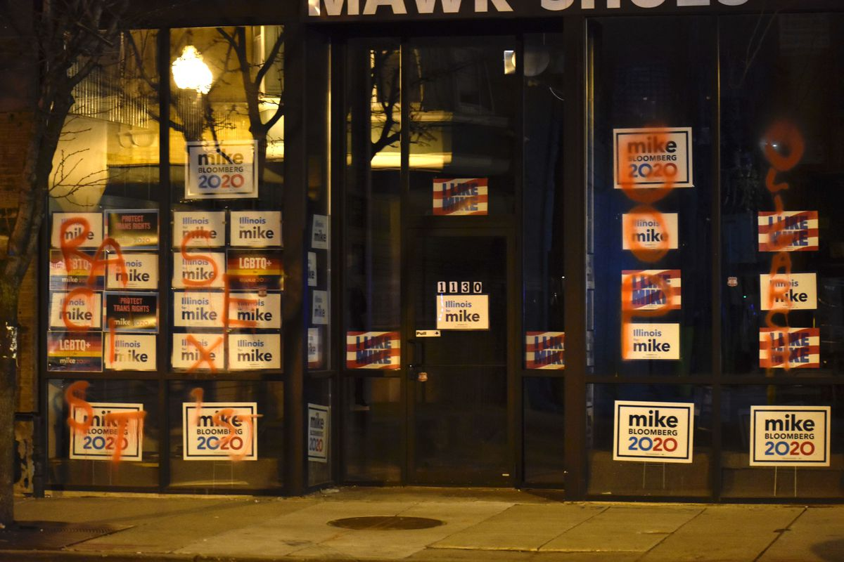 """Chicago police are investigating after the words """"racist,"""" """"sexist,"""" """"GOP"""" and """"oligarch"""" were spray-painted on the front of Mike Bloomberg's presidential campaign office, 1130 W. Bryn Mawr Ave., on Feb. 24, 2020."""