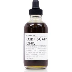 """Oils of jojoba, olive, and coconut are blended with rosemary leaf and burdock root in this <a href=""""http://www.anthropologie.com/anthro/product/beauty-haircare/24805459.jsp?"""">Fig + Yarrow Hair + Scalp Tonic</a> ($34 at Anthropologie). Mix a small amount i"""