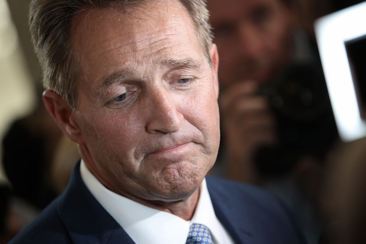 Jeff Flake after announcing he will not seek reelection on October 24,  2017. Win McNamee/Getty