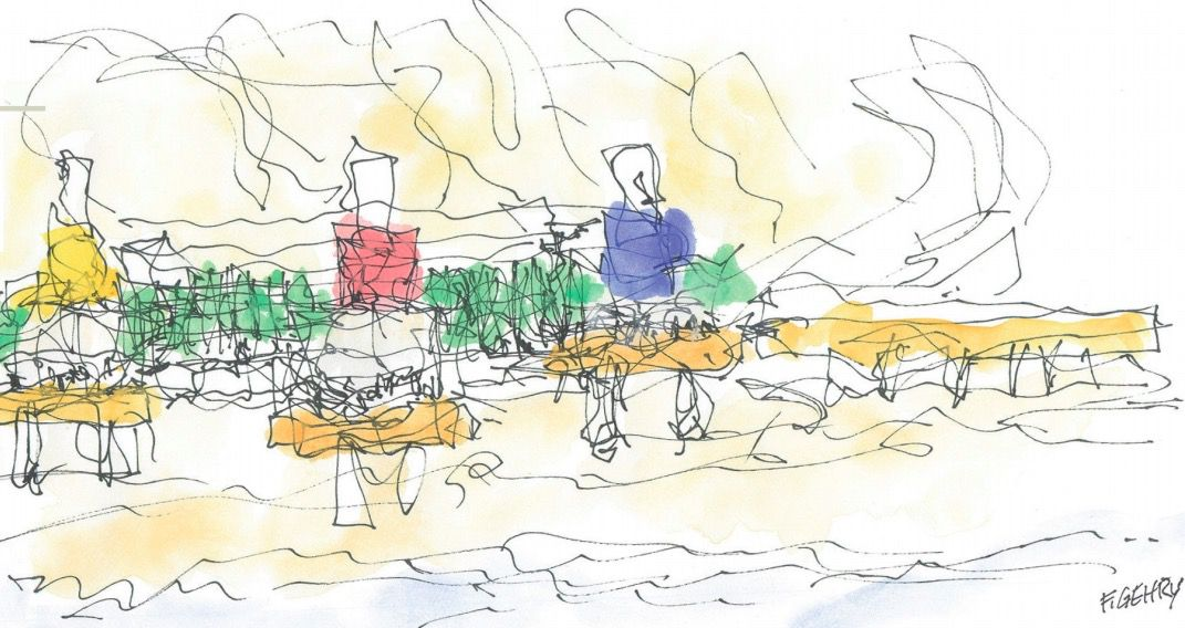 Sketch of restaurant by Frank Gehry