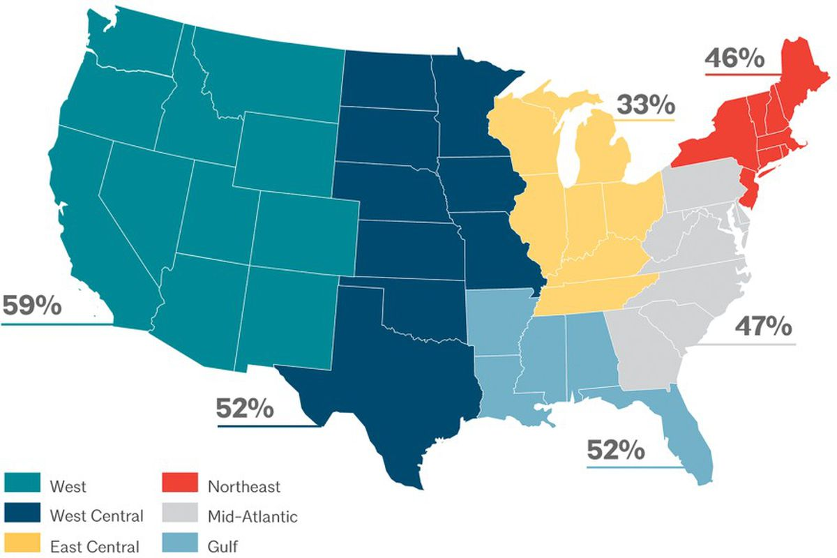 Percent of architecture students of color in each U.S. region.