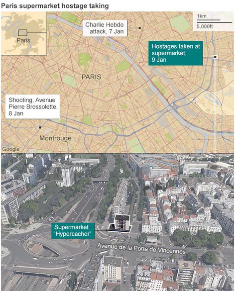 Paris supermarket hostage map BBC