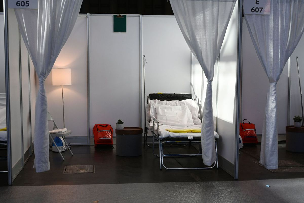 One of the thousand new hospital bed at the Javits Center.