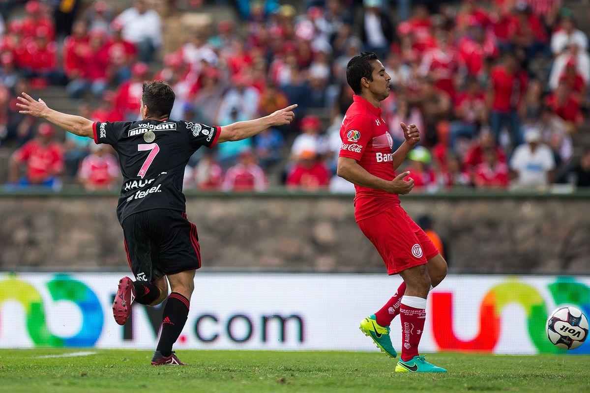 Xoloitzcuintles Tijuana's Gabriel Hauche reacts after scoring a goal against Toluca.
