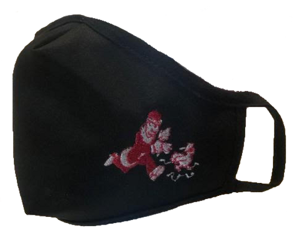 A black face mask with a Harold's Chicken Shack logo embroidered on the bottom right corner.