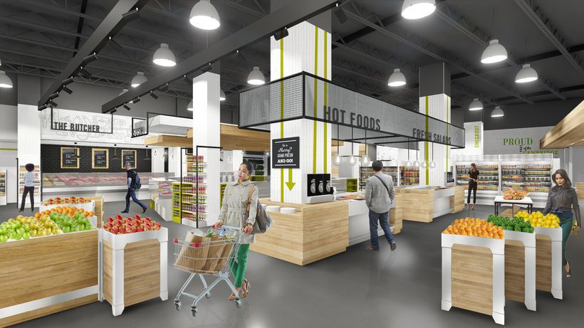 A rendering of shoppers in the produce section of a planned grocery store.