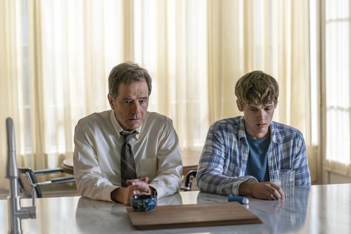 """Judge Michael Desiato (Bryan Cranston, left) uses his legal know-how to help his son (Hunter Doohan) avoid blame for a fatal hit-and-run in the new Showtime series """"Your Honor."""""""