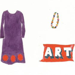Recess dress in purple and hibiscus, $995. Long Gumball and Square necklace, $550. Art pillow, $75.