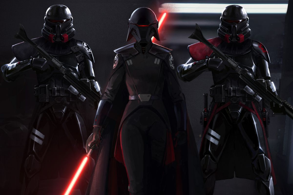 The Second Sister, dressed all in black, holds a red lightsaber blade. She's flanked by two specialist stormtroopers.
