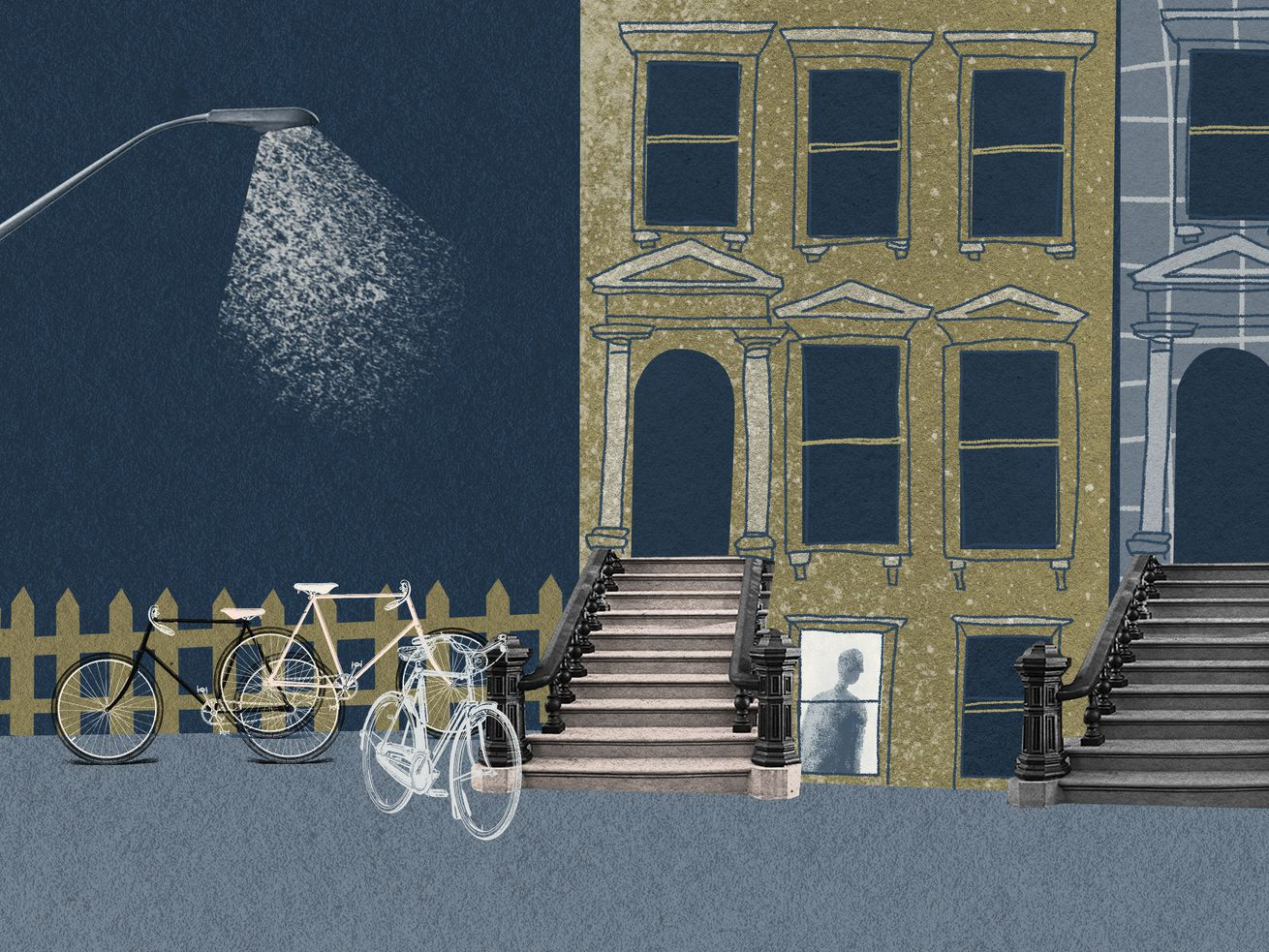 An illustration of an apartment building at night, with a streetlamp hanging over a sidewalk filled with bikes.