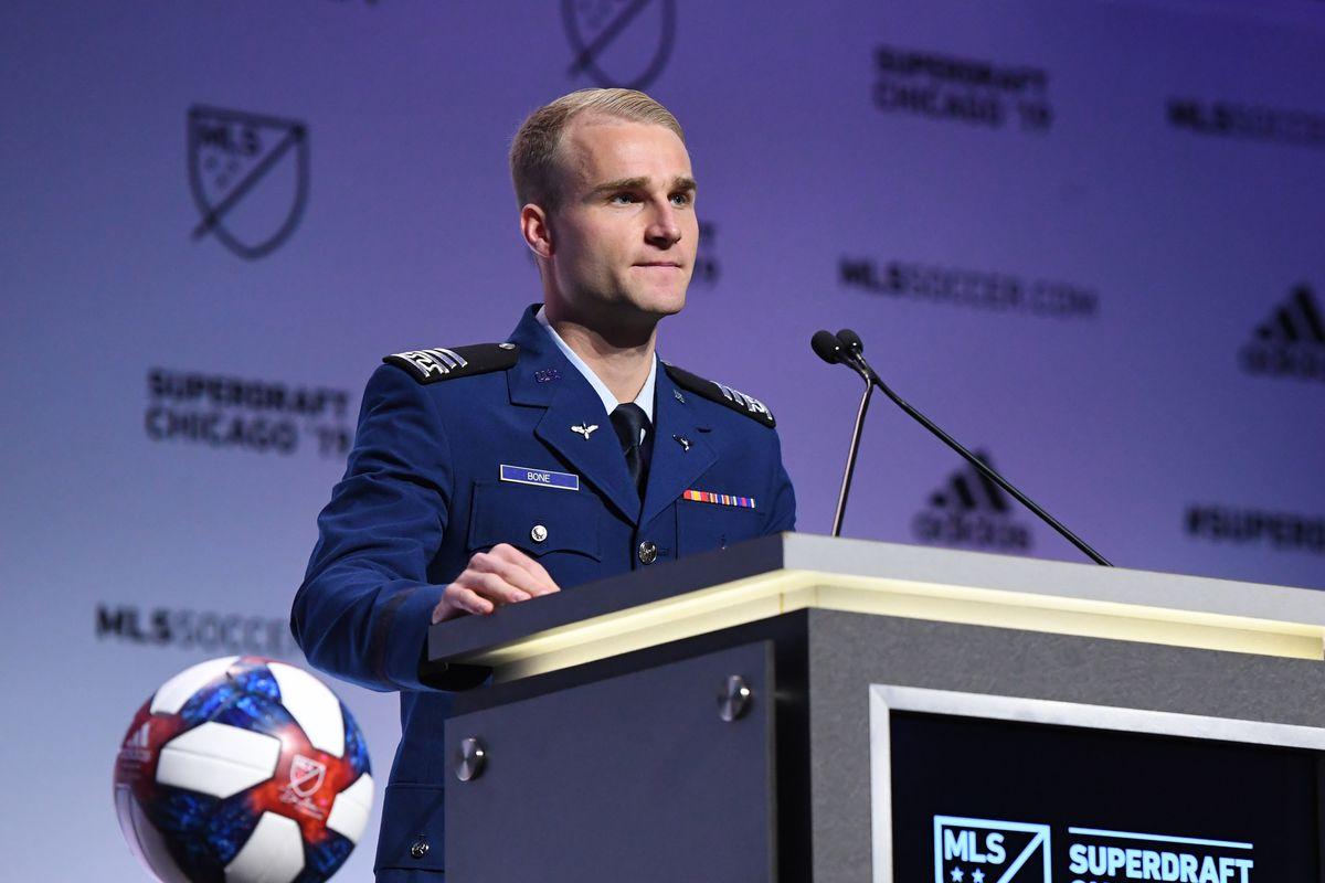 MLS: SuperDraft photo of Tucker Bone in his Air Force Academy uniform.