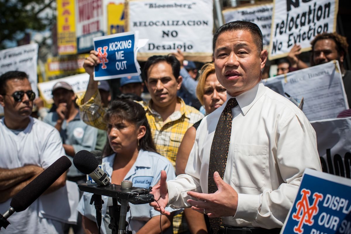 John Liu, former mayoral candidate, speaks at a protest in 2013. (Photo by Andrew Burton | Getty Images)