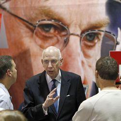 Utah Sen. Bob Bennett talks to Republicans at the Salt Lake County Republican Convention Saturday, April 24, 2010, in Sandy.