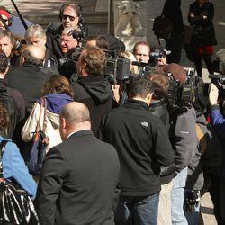 US Attorney Brett Tolman and Ed Smart talk with reporters outside  Federal Court in Salt Lake City, Utah, Thursday, Oct. 1, 2009. Elizabeth tesified against Brain David Mitchell.