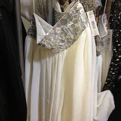 Glass and crystal sample dress, $99