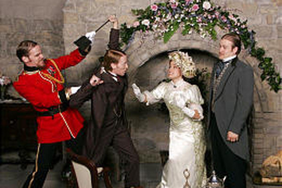 "Matt Carlin as Gen. Boxer Bridgenorth, Jason Purdie as Reginald Bridgenorth, Shelby Pinney as Leo Bridgenorth and Cort Kirksey as Sinjon Hotchkiss star in ""Getting Married, a look at the pros and cons of matrimony."