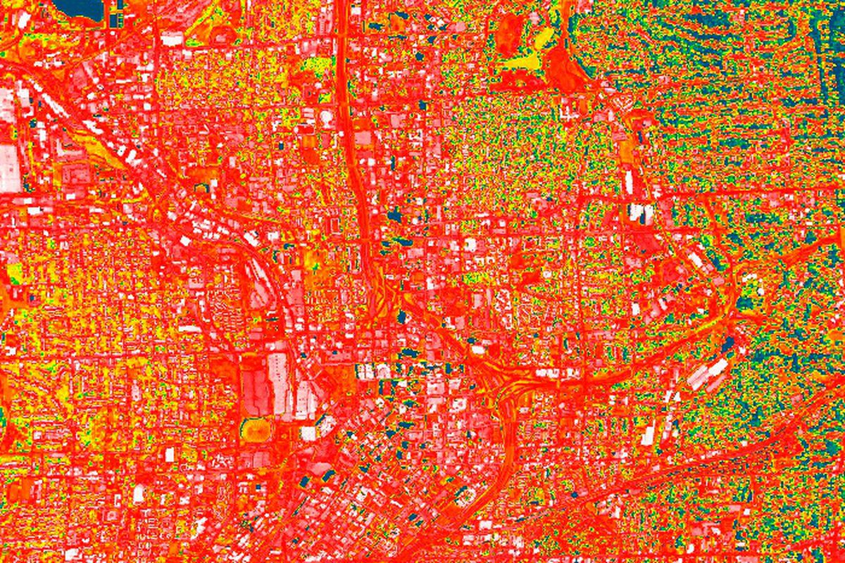 """Thermal imagery from urban Atlanta in the year 2000, when the city's """"heat island"""" issues were reportedly at their worst."""